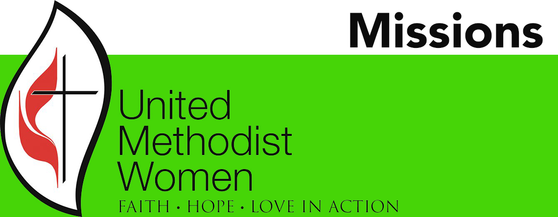 United Methodist Women logo with green border missions supported with donations large banner