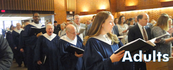 Adults singing hymns walking into church
