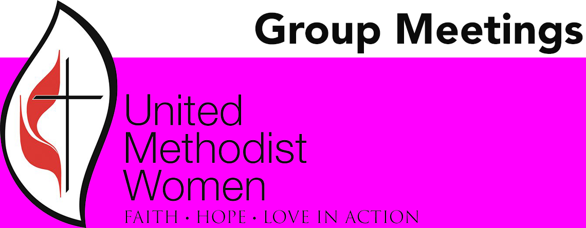 United Methodist Women logo with pink border group meeting large banner